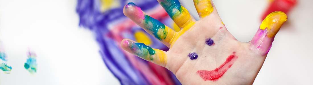 Painted preschooler hand